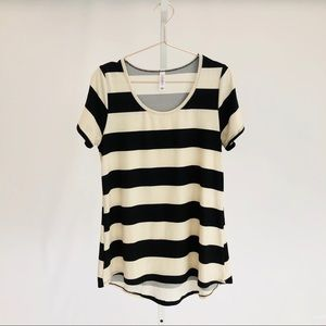 Lularoe Striped Classic Tee in Black & Cream